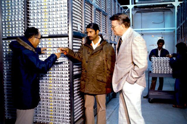 Nyle Brady, Gurdev Khush, T. T. Chang at IRRI genebank